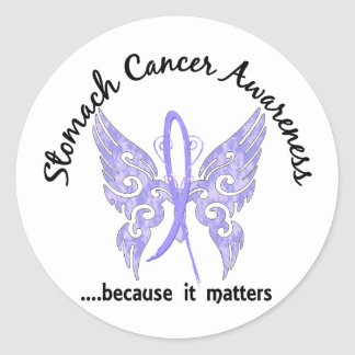 Grunge Tattoo Butterfly 6.1 Stomach Cancer Classic Round Sticker