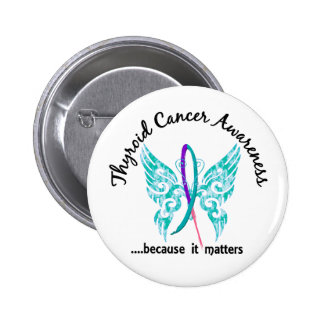 Grunge Tattoo Butterfly 6.1 Thyroid Cancer Button