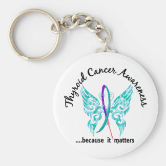 Grunge Tattoo Butterfly 6.1 Thyroid Cancer Key Chain