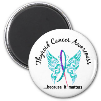 Grunge Tattoo Butterfly 6.1 Thyroid Cancer Fridge Magnets