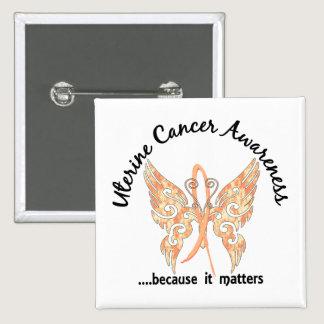 Grunge Tattoo Butterfly 6.1 Uterine Cancer Button