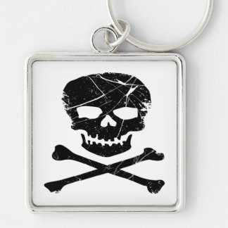 Grunge Tattoo Skull and Cross Bones Keychain