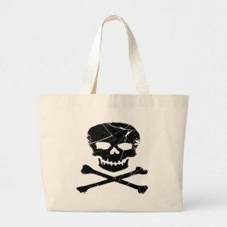 Grunge Tattoo Skull and Cross Bones Large Tote Bag