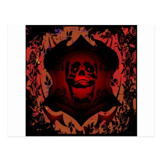Grunge Tattoo Skull Full Background Postcard