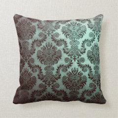 Grunge Teal Damask Pillows