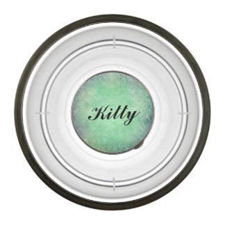 grunge teal damask template customizable trendy pet bowl