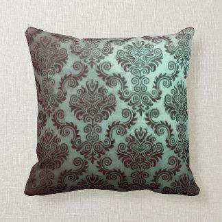 Grunge Teal Damask Throw Pillow