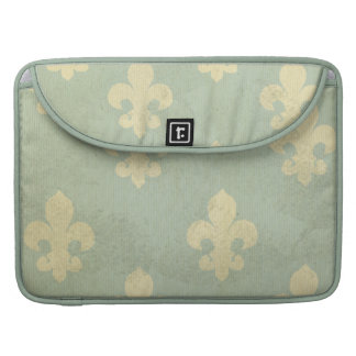 Grunge,teal,vintage,fleur de lis,pattern,victorian sleeve for MacBooks