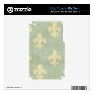 Grunge,teal,vintage,fleur de lis,pattern,victorian skin for iPod touch 4G