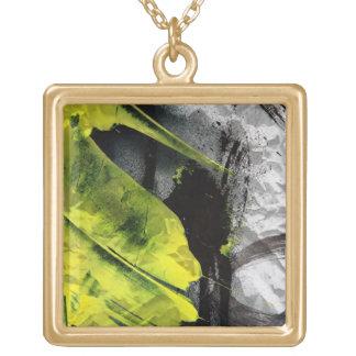 Grunge texture expressive brush strokes square pendant necklace