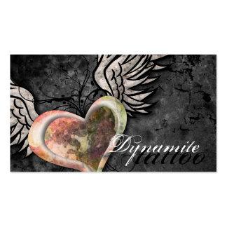 Grunge Texture Heart Wings Tattoo Business Card