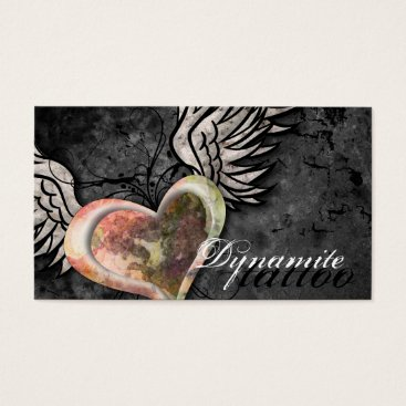 Professional Business Grunge Texture Heart Wings Tattoo Business Card