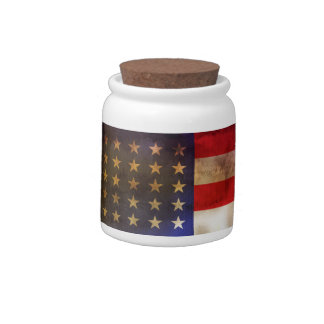 Grunge Textured American Flag Candy Jar