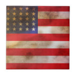 Grunge Textured American Flag Ceramic Tile