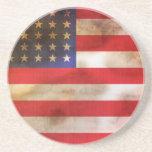 Grunge Textured American Flag Drink Coaster