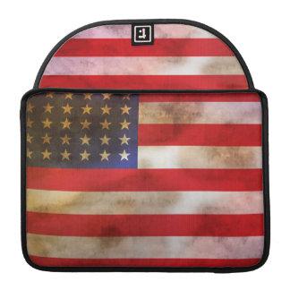 Grunge Textured American Flag Sleeve For MacBooks