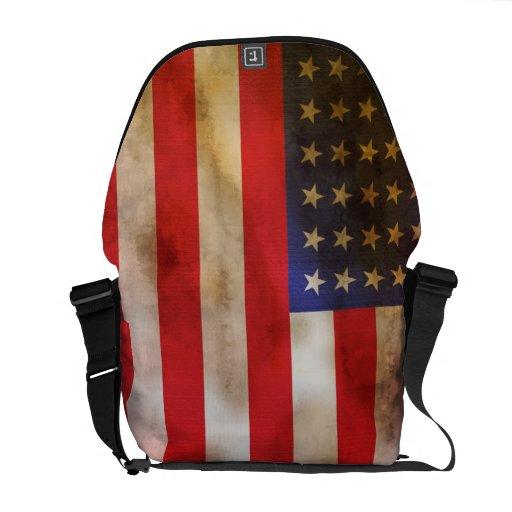 Grunge Textured American Flag Messenger Bag