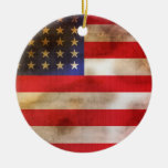 Grunge Textured American Flag Ornaments