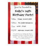 Grunge Textured American Flag Personalized Invite