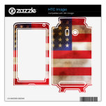 Grunge Textured American Flag Skins For HTC Imagio