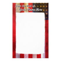 Grunge Textured American Flag Stationery