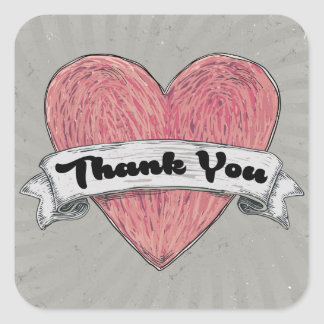 Grunge Thank You Red & Gray Heart Stickers / Seals