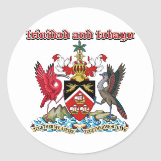 Grunge Trinidad and Tobago coat of arms designs Classic Round Sticker