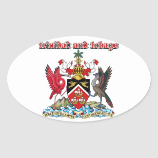Grunge Trinidad and Tobago coat of arms designs Oval Sticker