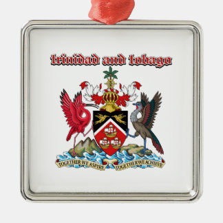 Grunge Trinidad and Tobago coat of arms designs Square Metal Christmas Ornament
