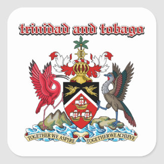 Grunge Trinidad and Tobago coat of arms designs Square Sticker
