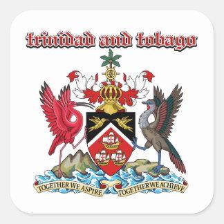 Grunge Trinidad and Tobago coat of arms designs Square Sticker