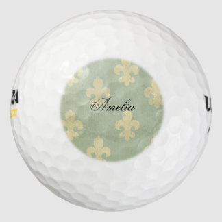 Grunge, trullo, vintage, flor de lis, modelo, pack de pelotas de golf