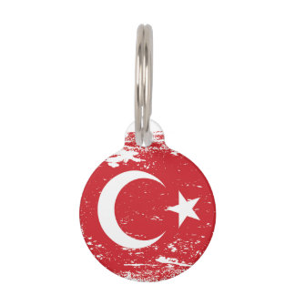 Grunge Turkey Flag Pet ID Tag