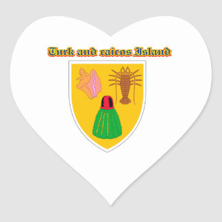 Grunge Turks and Caicos coat of arms designs Heart Sticker