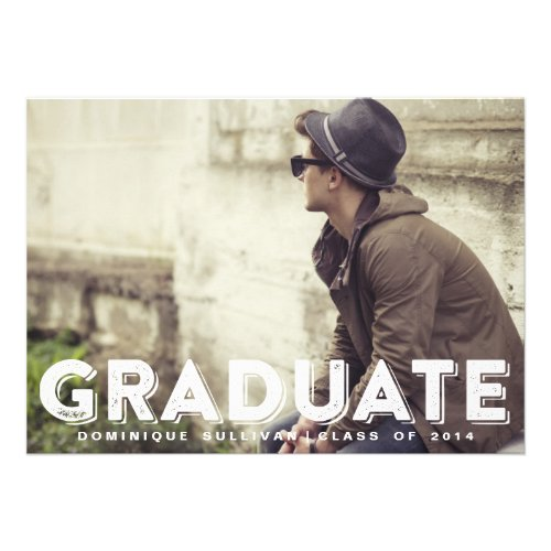 Grunge Typography Photo Graduation Invitation