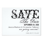 Grunge Typography Save the Date, Black Personalized Invitation