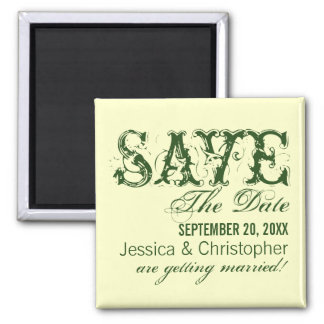 Grunge Typography Save the Date Magnet, Green 2 Inch Square Magnet