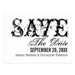 Grunge Typography Save the Date Postcard, Black