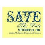 Grunge Typography Save the Date Postcard, Dark Blu