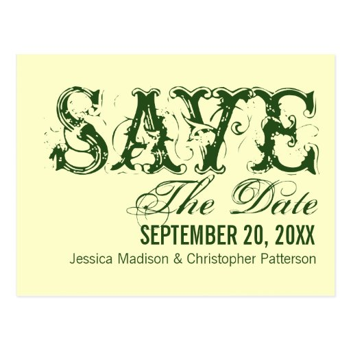 Grunge Typography Save the Date Postcard, Green