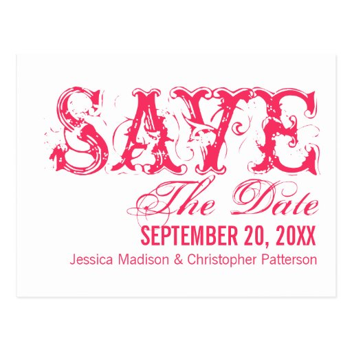 Grunge Typography Save the Date Postcard, Hot Pink