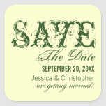 Grunge Typography Save the Date Stickers, Green