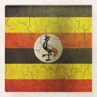 Grunge Uganda Flag Glass Coaster