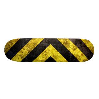 Grunge under construction stripes skateboard deck