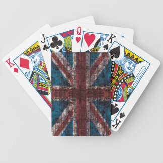 grunge Union Jack - brick texture playing cards