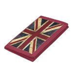 grunge union jack british flag tri-fold wallet