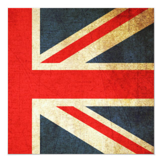 Grunge Union Jack Custom Invitation (Square)