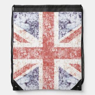 Grunge Union Jack Drawstring Backpack