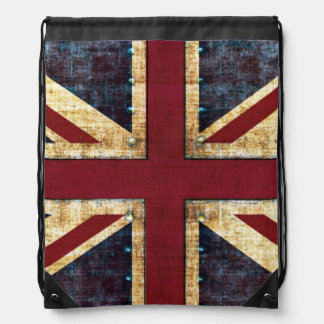 Grunge Union Jack Drawstring Bag