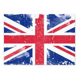 Grunge Union Jack flag Invitation